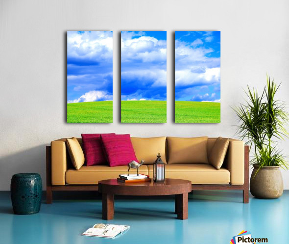 Blue Sky Clouds Field Bright Colorful Scenery Background  Split Canvas print