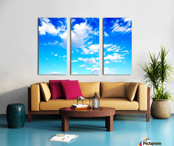 Bright Sky Blue with Clouds Colorful Scenic Background Split Canvas print