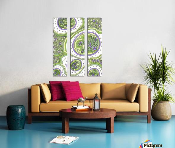 Wandering Abstract Line Art 06: Green Split Canvas print