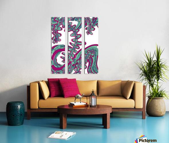 Wandering Abstract Line Art 07: Green Split Canvas print