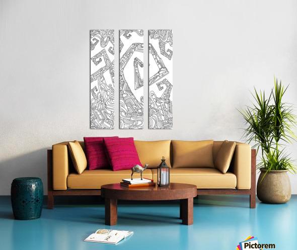 Wandering Abstract Line Art 08: Black & White Split Canvas print
