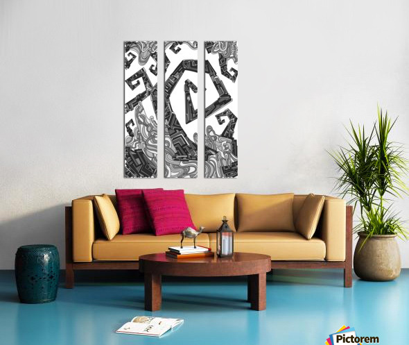Wandering Abstract Line Art 08: Grayscale Split Canvas print