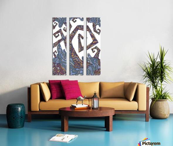 Wandering Abstract Line Art 08: Yellow Split Canvas print