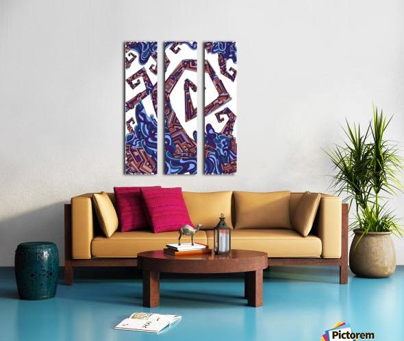 Wandering Abstract Line Art 08: Purple Split Canvas print