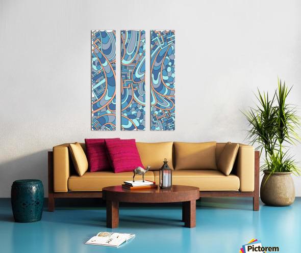 Wandering Abstract Line Art 09: Blue Split Canvas print