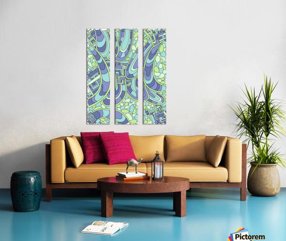 Wandering Abstract Line Art 09: Green Split Canvas print