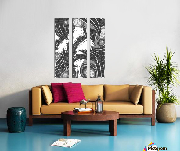 Wandering Abstract Line Art 10: Grayscale Split Canvas print