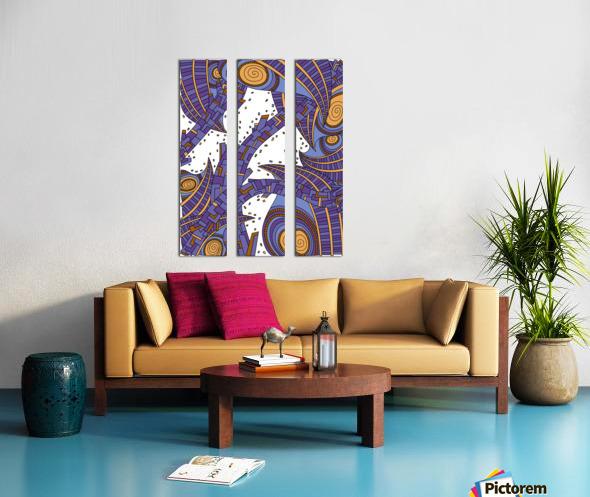 Wandering Abstract Line Art 10: Purple Split Canvas print
