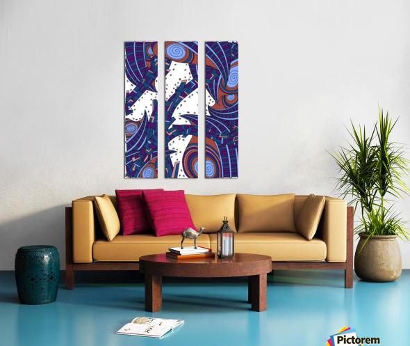 Wandering Abstract Line Art 10: Orange Split Canvas print