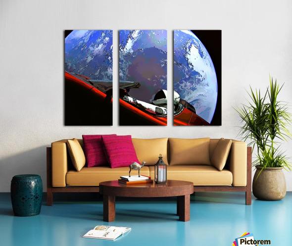 StarMan in Tesla Above Planet Earth Split Canvas print