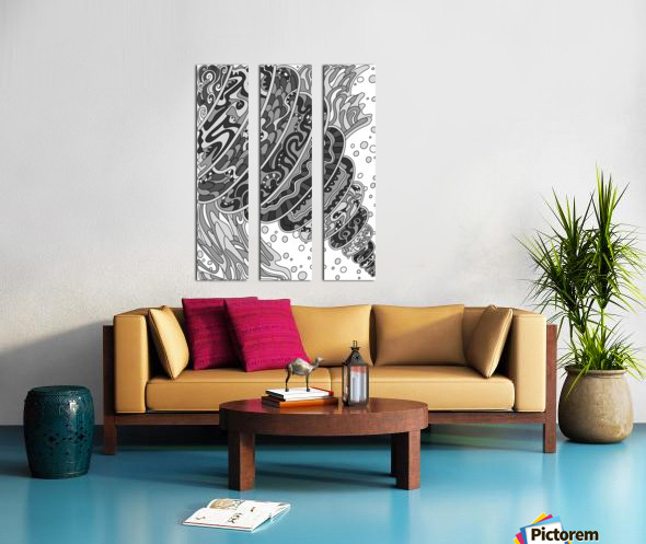 Wandering Abstract Line Art 11: Grayscale Split Canvas print