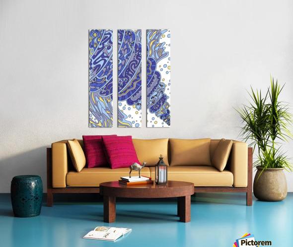 Wandering Abstract Line Art 11: Blue Split Canvas print