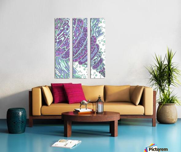 Wandering Abstract Line Art 11: Purple Split Canvas print