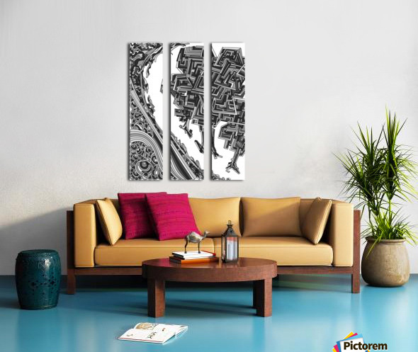Wandering Abstract Line Art 12: Grayscale Split Canvas print