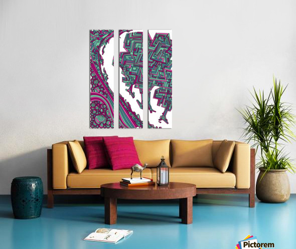 Wandering Abstract Line Art 12: Magenta Split Canvas print