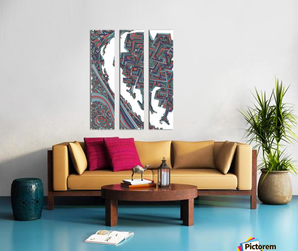 Wandering Abstract Line Art 12: Red Split Canvas print