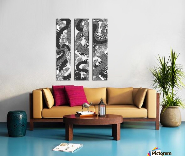 Wandering Abstract Line Art 13: Grayscale Split Canvas print