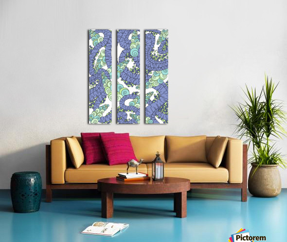 Wandering Abstract Line Art 13: Periwinkle Split Canvas print