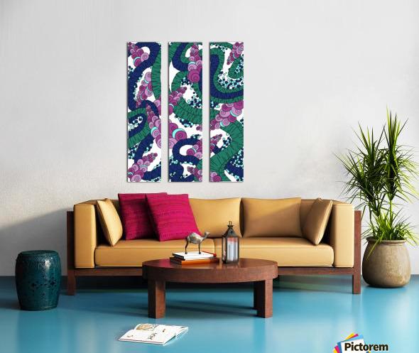 Wandering Abstract Line Art 13: Green Split Canvas print