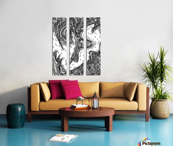 Wandering Abstract Line Art 14: Grayscale Split Canvas print