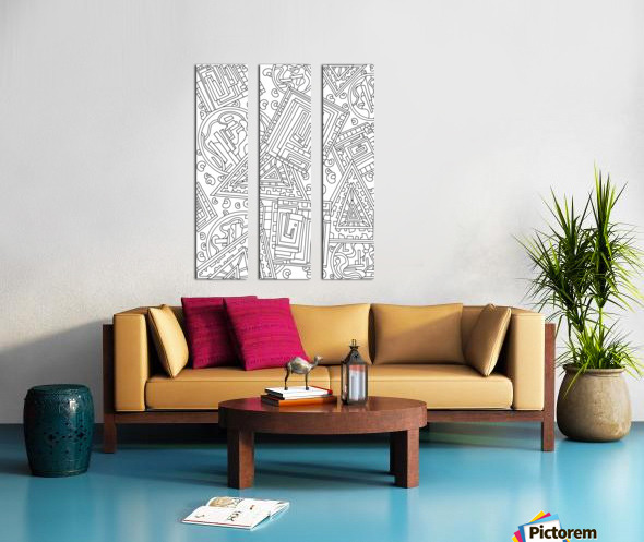 Wandering Abstract Line Art 15: Black & White Split Canvas print