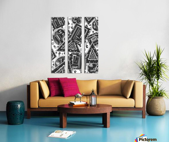 Wandering Abstract Line Art 15: Grayscale Split Canvas print