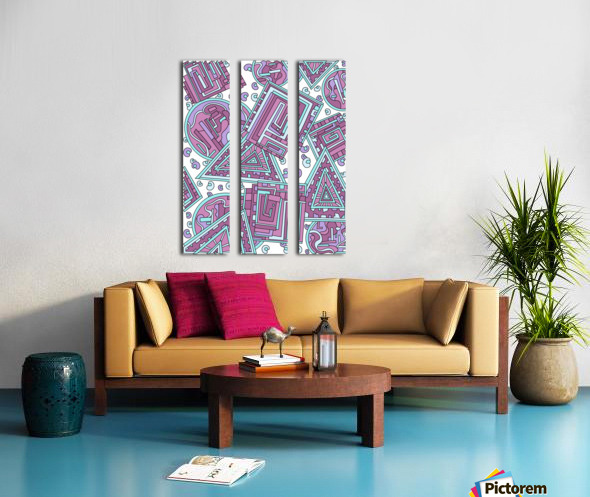 Wandering Abstract Line Art 15: Pink Split Canvas print