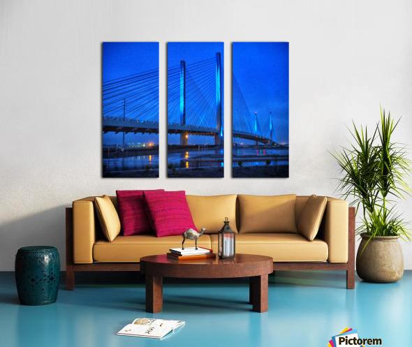 Blue Bridge In The Rain At Indian River Inlet Split Canvas print