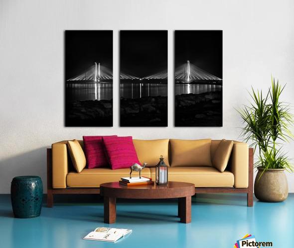 Indian River Bridge After Dark in Black and White Split Canvas print