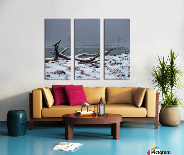 Indian River Bridge with Driftwood and Snow Split Canvas print