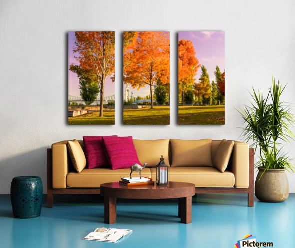 Autumn In The Old Port Of Montreal Split Canvas print