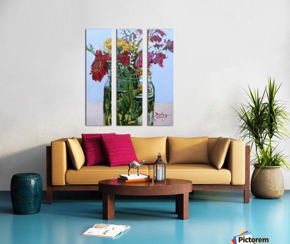 Flowers in a Mason Jar Split Canvas print