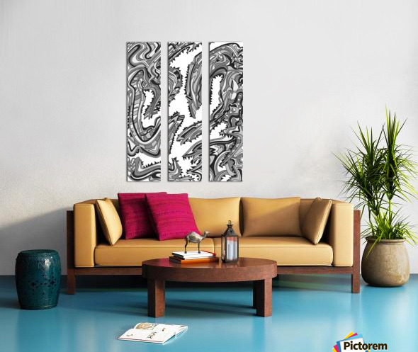 Wandering Abstract Line Art 26: Grayscale Split Canvas print