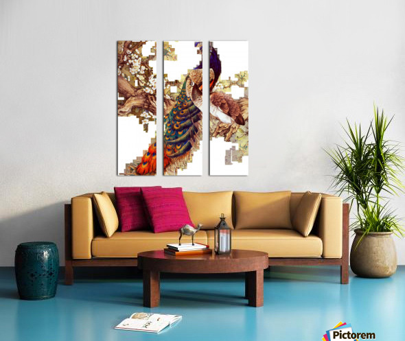 china peafowl glass feather peacock Split Canvas print