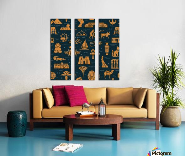 dark seamless pattern symbols landmarks signs egypt Split Canvas print