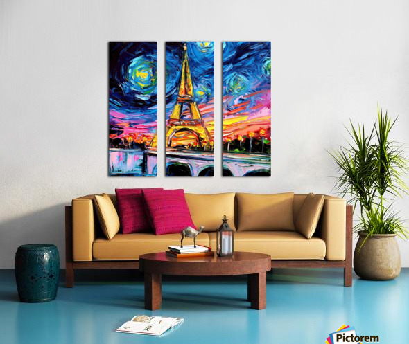 Eiffel Tower Starry Night print van Gogh Split Canvas print