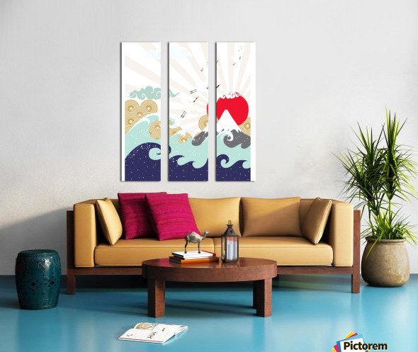 mountain sun japanese illustration Split Canvas print