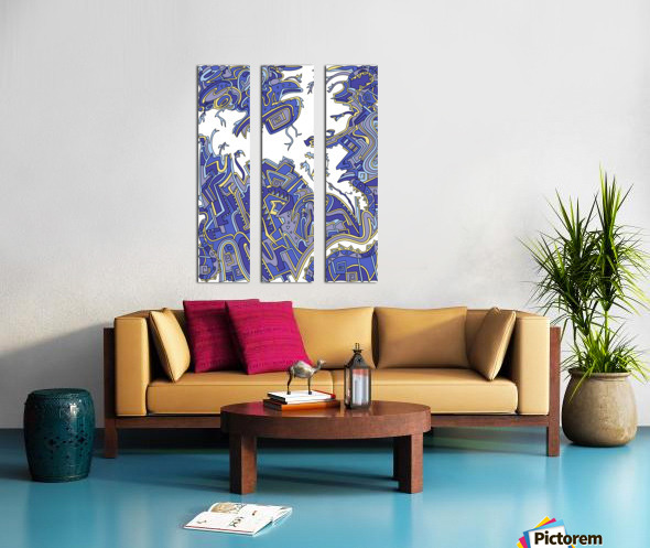 Wandering Abstract Line Art 34: Blue Split Canvas print