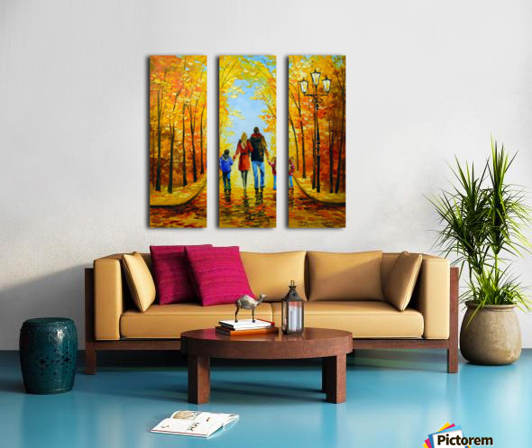 Walk with the whole family in the autumn Park Split Canvas print