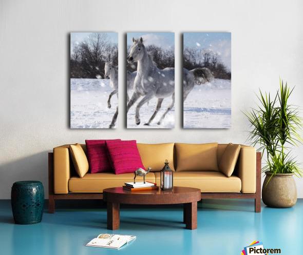 Horses in the Snow Split Canvas print