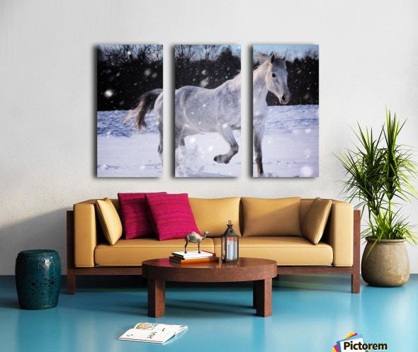 Horses in the Snow Split Canvas print