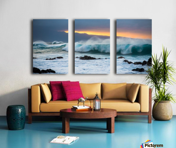Mountains and Waves Split Canvas print