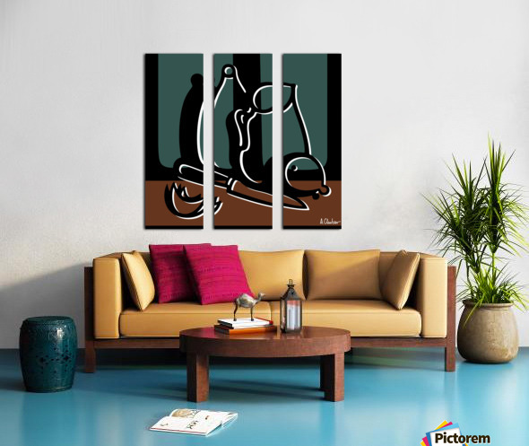 Still Life with a Pitcher and a Bottle Split Canvas print