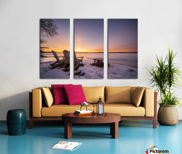 Morning by the Frozen River Split Canvas print