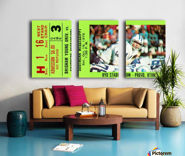 1976 BYU Cougars Ticket Stub Split Canvas print