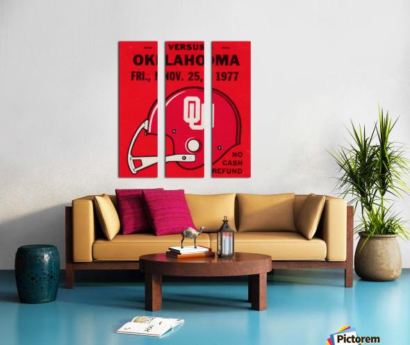 1977 Oklahoma Sooners Helmet Art Split Canvas print