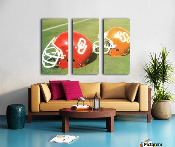 1978 Oklahoma Sooners OSU Cowboys Football Helmet Art  Split Canvas print