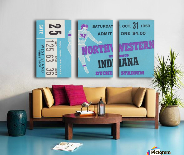 1959_College_Football_Northwestern vs. Indiana_Dyche Stadium_Row One Brand Tickets Split Canvas print