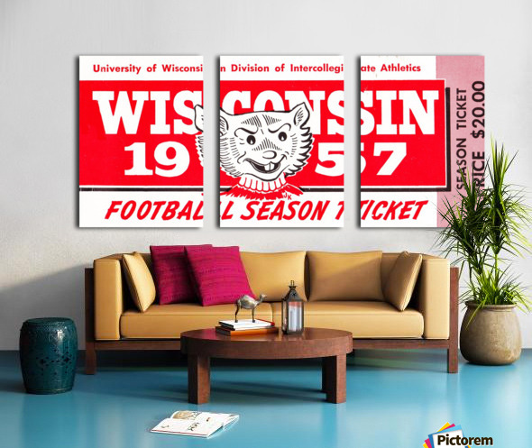 1957 Wisconsin Badgers Season Ticket Split Canvas print
