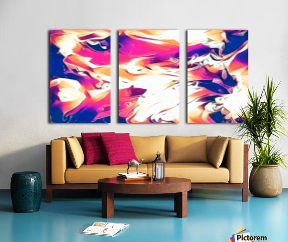 Very Berry - white blue pink orange swirl abstract wall art Split Canvas print